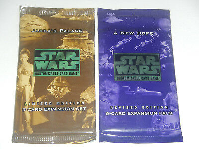 2 X Star Wars CCG Packs-A New Hope Revised, 1 Jabba's Palace Booster Pack Sealed
