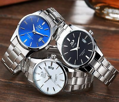 Mens Wrist Watch Analog Quartz Sports Date Display Stainless Steel Watches New