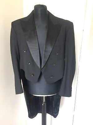 """Vintage Tailored Unisex Black Wool Tails Coat 44"""" Steampunk Goth Cosplay"""