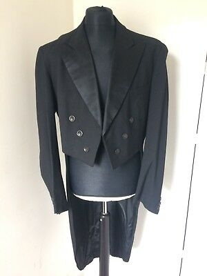 """Vintage Tailored Unisex Black Wool Tails Coat 42"""" Steampunk Goth Cosplay"""