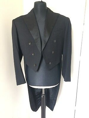 "Vintage Tailored Unisex Black Wool Tails Coat 40"" Steampunk Goth Cosplay"