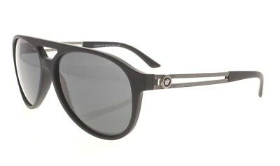 bccf477f52aa6 VERSACE VE 4312 5141 87 Rubber Black   Silver   Gray Grad Sunglasses ND AUTH