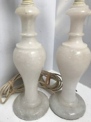Pair of Antique Vintage Marble Alabaster Lamps 20.5""