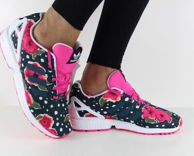 Adidas Originals Womens Ladies Girls ZX Flux Floral Trainers - UK Size 4 to 5.5