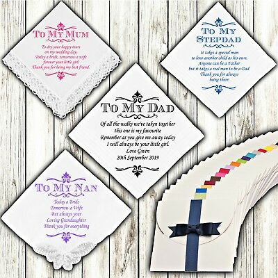 Wedding Handkerchief Personalised Mother Father of the Bride Custom Gift Mum Dad