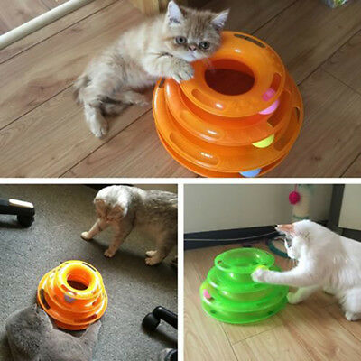 3 Layer Funny Cute Cat Turntable Pet Toys Kitten Crazy Ball Disk Interactive Toy