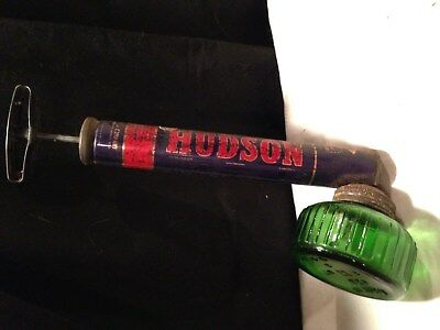 "Vintage Hudson Insect, Bug Sprayer Duster With Green Glass Bottle, About 11"" L"