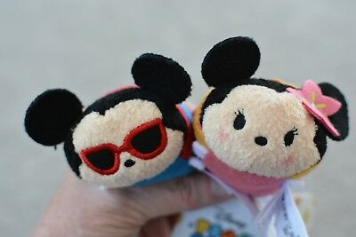 Disney Hawaii Aulani Mickey And Minnie Tsum Tsums Plush NWT