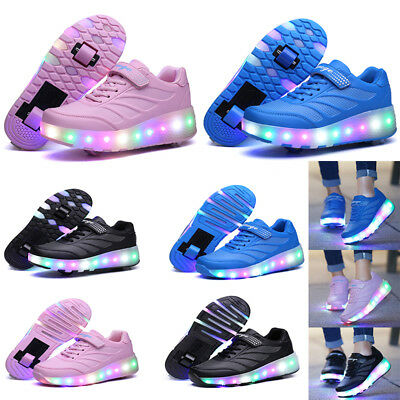 Kids LED Boys Girls Wheels Skates Roller Skate Casual Trainers Shoes Plus Size