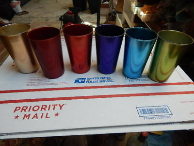 6 Anodized Aluminum Drinking Tumblers 10 oz Vintage Glasses Water Cup Set