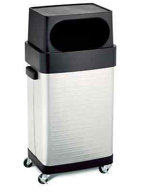 Trash Can With Lid And Wheels Kitchen Office Stainless Steel Commercial 17 Gal