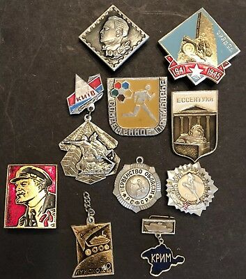 Lot of 10 Small Vintage Russian Soviet Union USSR CCCP Collectible Pins Set #12