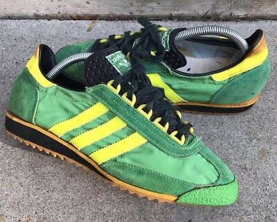 Rare Original Vintage Adidas Green Yellow Trainer Shoes Sl76 Germany