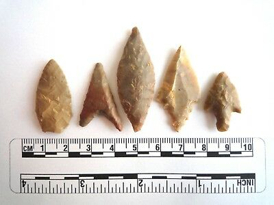 Neolithic Arrowheads x 5, High Quality Selection of Styles - 4000BC - (2421)