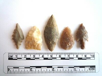 Neolithic Arrowheads x 5, High Quality Selection of Styles - 4000BC - (2414)