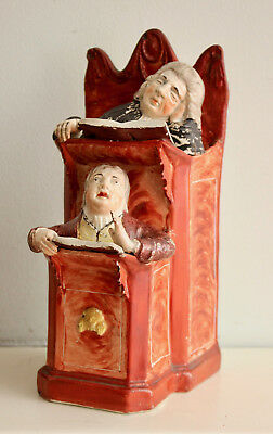 Rare Antique c18th Staffordshire Figure Group, Vicar & Moses, Ralph Wood