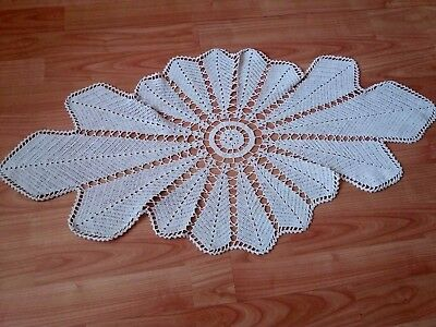ANTIQUE Vintage Hand-Knitted Cotton Crochet Ivory Floral Oval Tablecloth, Topper