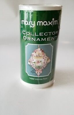 Christmas Mary Maxim Collector Ornament KIT Victorian Rose Beads Sequins #14093