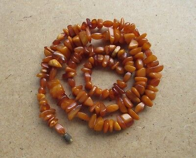 Natural Antique Baltic Vintage Amber OLD BUTTERSCOTCH EGG YOLK Necklace 31 g.
