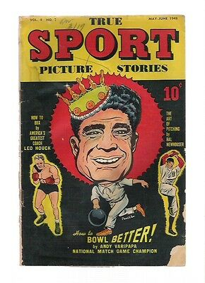 TRUE SPORT PICTURE STORIES Vol.4 No.7 (GD) ~Baseball, Bowling~ 1948 Street+Smith
