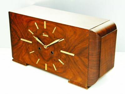 Rare Beautiful Pure  Art Deco Junghans Chiming Mantel Clock  With Pendulum