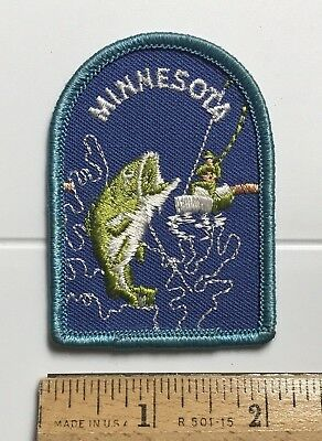 Minnesota Bass Fish Fishing MN Outdoors Souvenir Embroidered Patch Badge