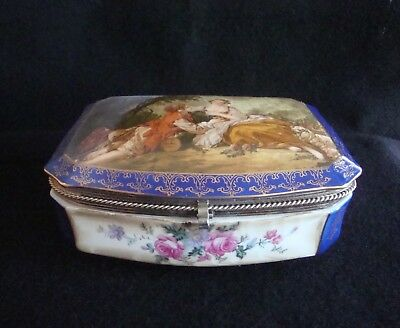 "Porcelain Hinged Box, 8"", Cobalt, Courting Couple, gold trim, floral"