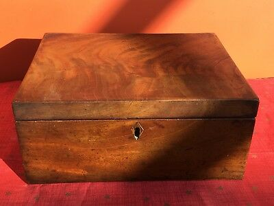 Antique 19th Century Flamed Mahogany Sewing / Work Box