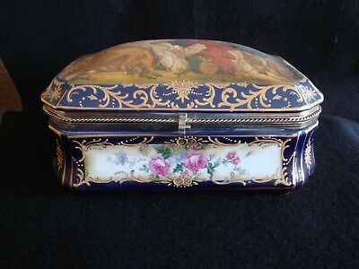 "Porcelain Hinged Box, 10"", Cobalt, Courting Couple, gold trim, floral"