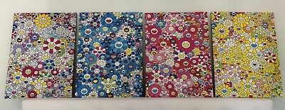 Takashi Murakami Flowers with Smiley Faces Art Canvas Set of 4