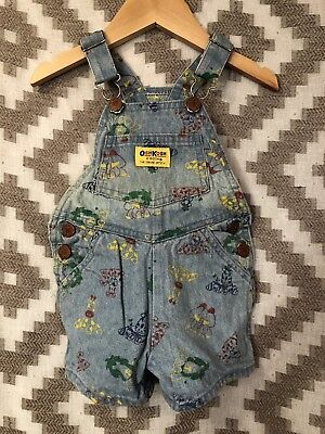 Vintage OshKosh Denim Shorts Overalls Size 12 Months Zoo Animal Print Rainbow