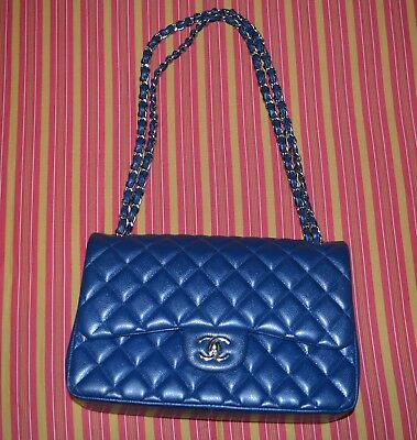5093d984a4a7 GORGEOUS CHANEL JUMBO Classic Double Flap Bag in Blue Caviar Leather ...