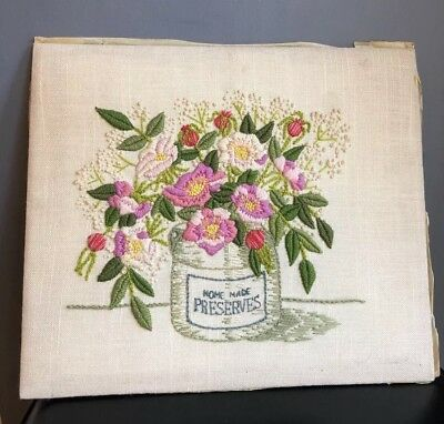 Vintage Crewel Embroidered Picture Home Made Preserves Flowers