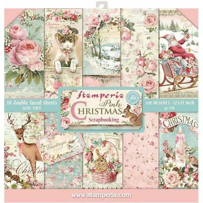 """Stamperia 12""""x12""""  Scrapbook Paper Pad """"PINK CHRISTMAS"""" NEW 2018 PREORDER"""