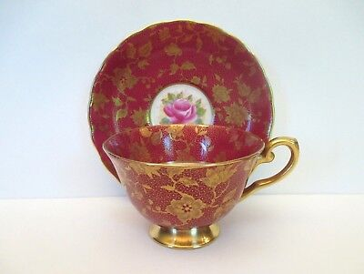 SALE Tuscan Floral with Red and Gold Cup and Saucer, England