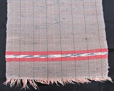 "Vintage hand loomed Rag Rug 29"" x 50"" gray red country primitive farmhouse decor"