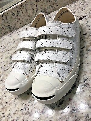 f47ba72d337 Converse Jack Purcell 3V Velcro    Perforated White Leather    US 8