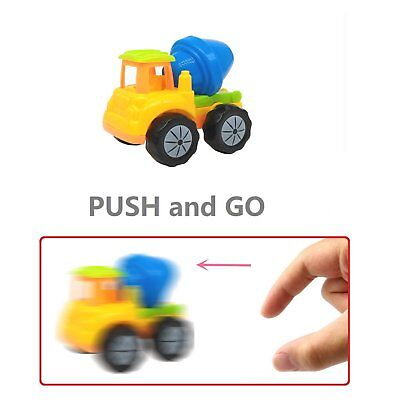 Push and Go Friction Powered Construction Vehicles 12 Piece Rainbow Color Trucks