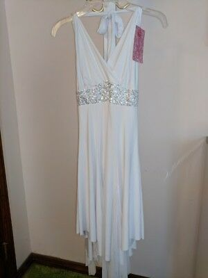 White/Silver Halter dress New Lyrical costume. Women's Small Natalie 7 available