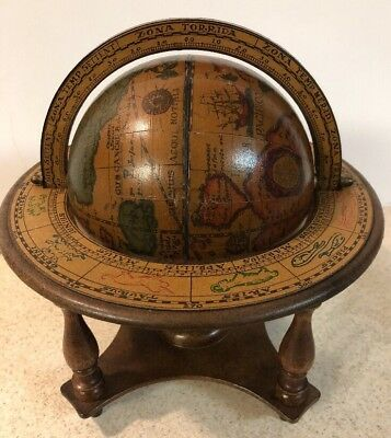 """Vintage Italian Old World Globe in Latin Celestial with Zodiac Signs 10"""" Italy"""