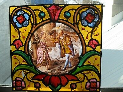 Antique Stained Glass Window - Gentleman greeting a Lady
