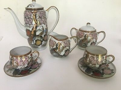 Vintage Hand Painted Japanese Tea Set Geisha Lithopane Tea Set Cups/saucer