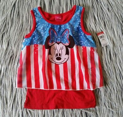 Disney Minnie Mouse Girls Size 6/6X 4th of July Red White & Blue Flag Tank Top