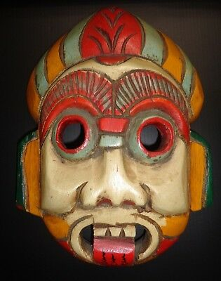 Vintage Asian Hand Carved Wooden Mask Thailand Tiki Bar Man Cave She Shack Bar