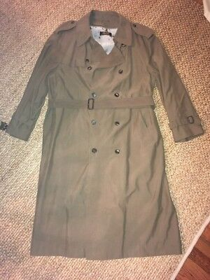 Vintage Brooks Brothers Olive Belted Trench Coat Removable Lining sz 42L EUC