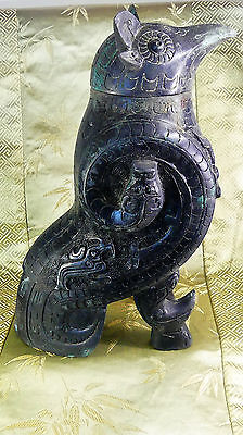 X-RARE Ancient Chinese Bronze Owl Wine Vessel (Zun) Shang Dynasty c. 1200 BC!