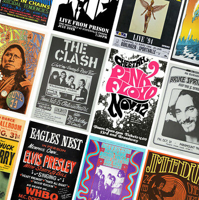CLASSIC VINTAGE MUSIC CONCERT POSTERS - A4 A3 A2 - Wall Art Prints - 60s 70s 80s