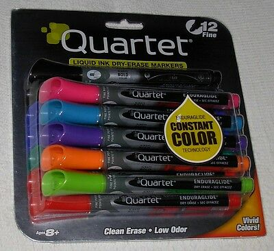 New Quartet 12 Pack Liquid Ink Dry-Erase Markers Fine Point Assorted Colors