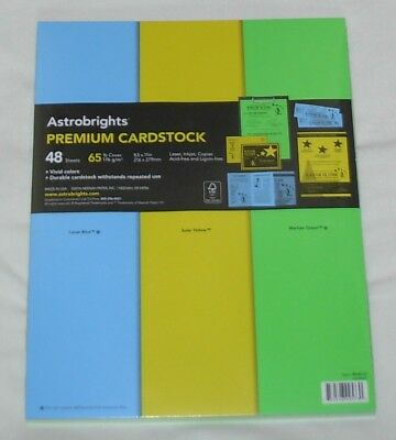 New 3 Vivid Colors Astrobrights Premium Cardstock 65 lb -- 48 Sheets 8 1/2 x 11