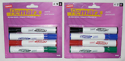 2 New Packs Staples Remarx Dry-Erase Markers Chisel Tip 4 Colors 8 Markers